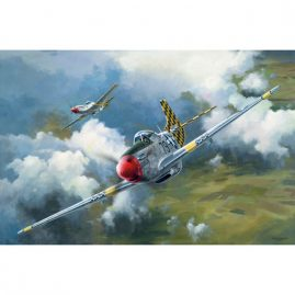 Mustang Warriors, a limited edition artwork by Colin Parker featuring two P-51D Mustang aircraft from World War II.