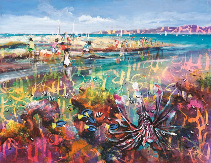 Another World, a limited edition artwork by Donald James Waters depicting people on an idyllic beach with an abstract view of an underwater reef.
