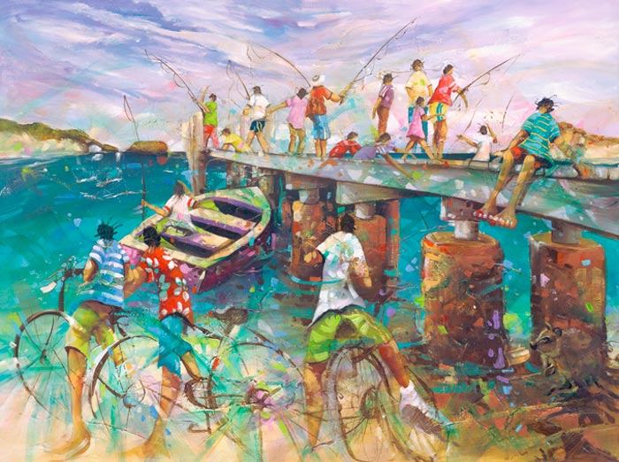 Any Luck, a limited edition artwork by Donald James Waters depicting people on Rottnest Island, fishing from a jetty, and riding bikes on the beach.