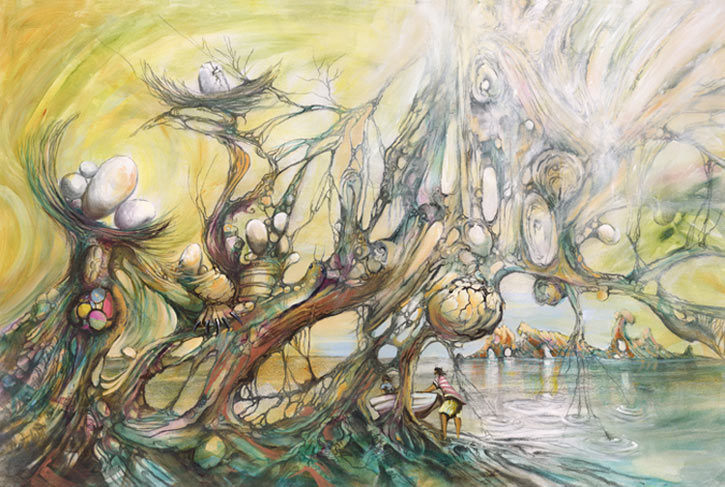 Anyone Home, a limited edition artwork by Donald James Waters depicting an abstract and idyllic seaside with bare trees and large nests of eggs.