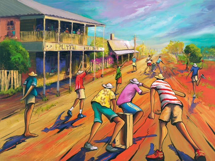 Ashes, a limited edition artwork by Donald James Waters depicting people playing cricket in the dusty main street of a small country town.