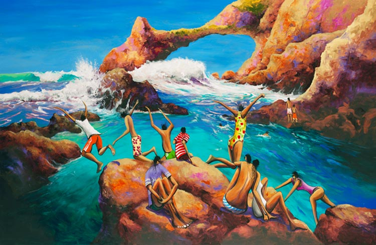 Before The Next One, a limited edition artwork by Donald James Waters depicting people jumping off the rocks before the next wave comes in.