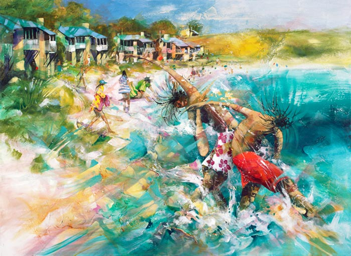 Big Splash, a limited edition artwork by Donald James Waters depicting people splashing each other in the water at the beach.