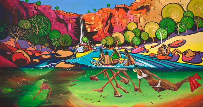 Board Meeting, a limited edition artwork by Donald James Waters depicting people sitting on surfboards, snorkelling and in a canoe in an idyllic river surrounded by cliffs and a waterfall.
