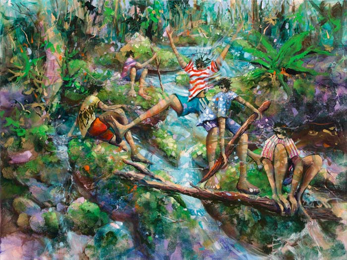 Bridging The Gap, a limited edition artwork by Donald James Waters depicting kids jumping over a flowing waterfall ravine.