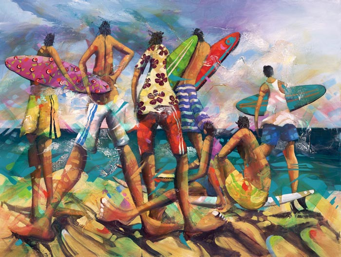 Bring It On Too, a limited edition artwork by Donald James Waters depicting surfers standing on the beach looking out over the waves.