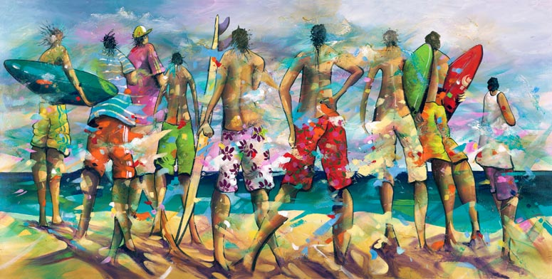 Bring It On, a limited edition artwork by Donald James Waters depicting surfers standing on the beach looking out over the waves.
