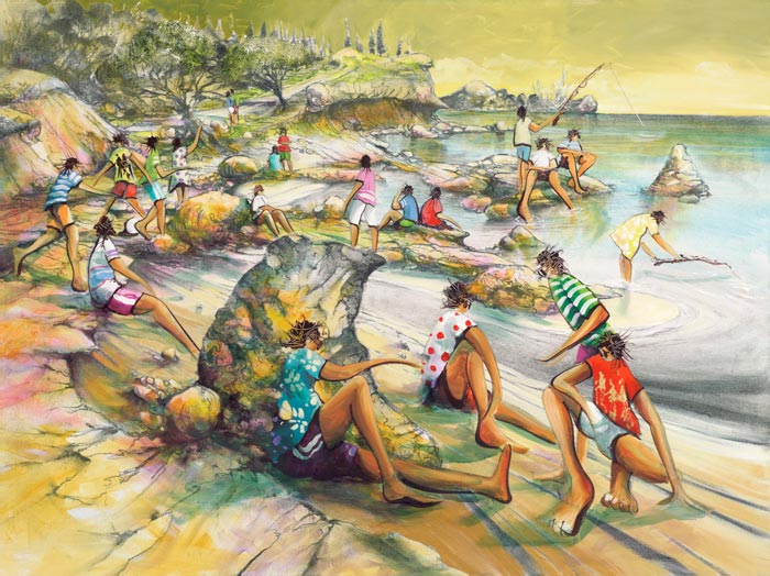 Camp Vigour, a limited edition artwork by Donald James Waters depicting people hanging out on the beach.