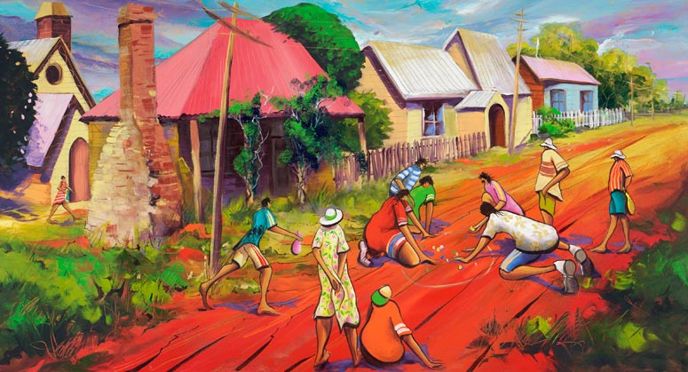 Can I Play, a limited edition artwork by Donald James Waters depicting people playing marbles on a red dirt street in the country.