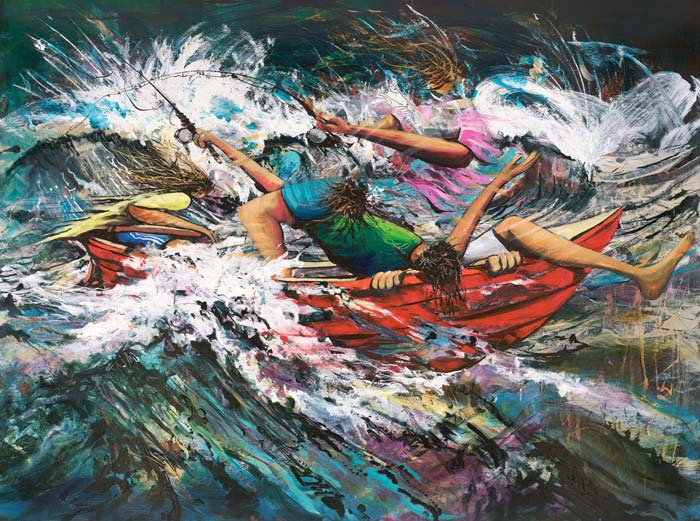 Captain Fearless, a limited edition artwork by Donald James Waters depicting people fishing in a small boat amidst rough waves.